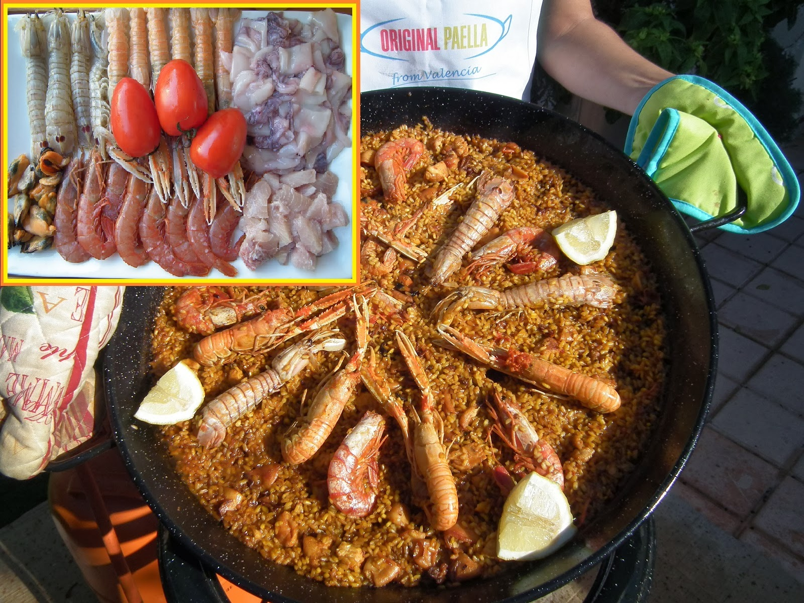 the original seafood paella recipe from Valencia Spain